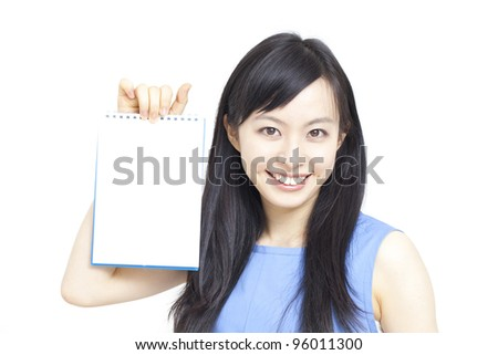Young business woman showing memo. - stock photo