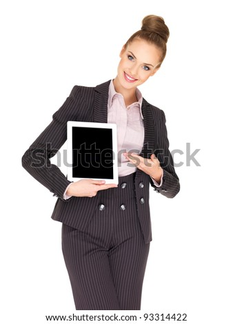 Young business woman showing tablet screen