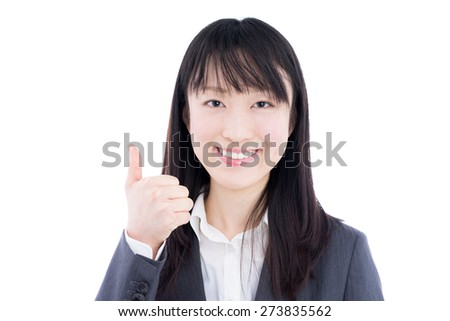young business woman showing thumbs up gesture isolated on white background - stock photo