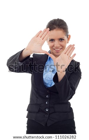 Young business woman smiling and making framing hand gesture. Isolated on white - stock photo