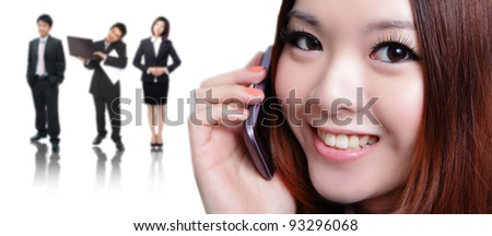 Young business woman speaking mobile phone with sweet smile with business background, model is a asian beauty - stock photo