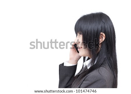young business woman talking on the phone, isolated on white background - stock photo