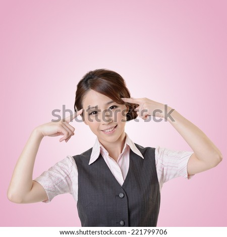 Young business woman think and get an idea, closeup portrait with clipping path. - stock photo