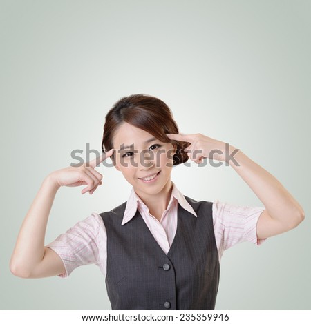 Young business woman think and get an idea, closeup portrait with clipping path.