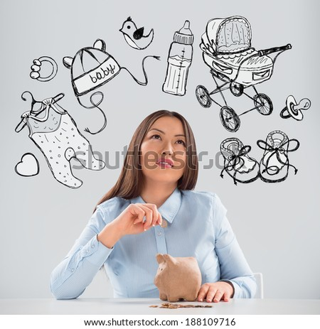 Young business woman thinking of her pregnancy plans closeup face portrait and sketches overhead - stock photo
