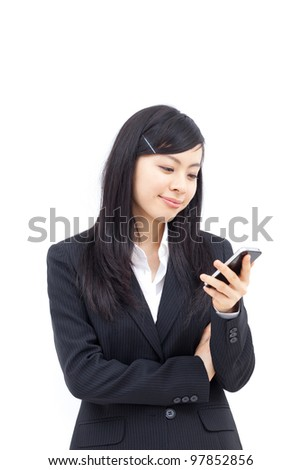 young business woman using smartphone, isolated on white background