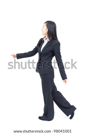 young business woman walking, isolated on white background - stock photo