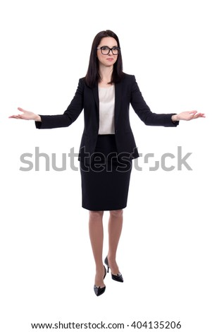 young business woman welcoming or presenting something isolated on white background - stock photo
