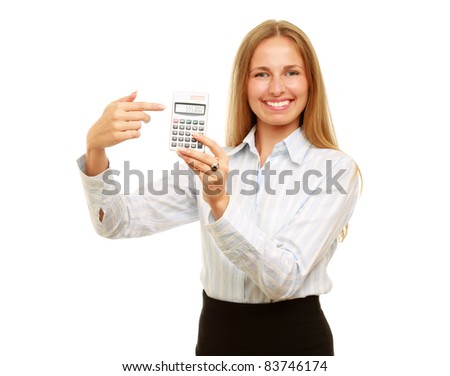 Young Business woman with a calculator isolated on white background