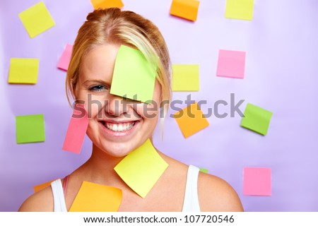 young business woman with a lot of work - stock photo