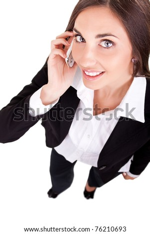 young business woman with a phone, isolated on white - stock photo