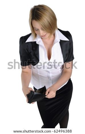 young business woman with a wallet in the hands isolated on white background - stock photo