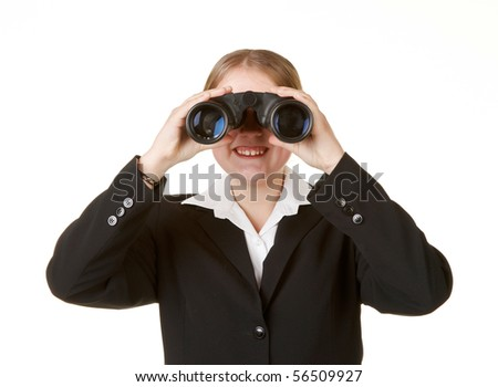 young business woman with binoculars isolated white background