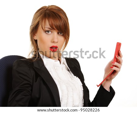 Young business woman with cellphone on a white background - stock photo