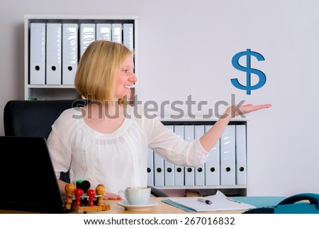 young business woman with dollar sign in the office - stock photo