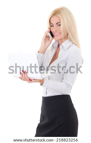 young business woman with laptop and phone isolated on white background
