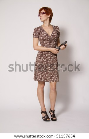 Young Business Woman with Notebook - stock photo