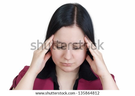 young business woman with splitting headache / having stress - isolated on white background - stock photo