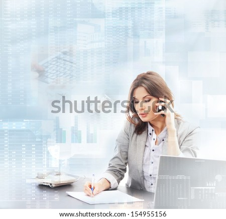Young business woman working in digital interface - stock photo