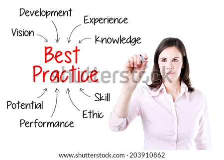 Young business woman writing best practice concept. Isolated on white. - stock photo
