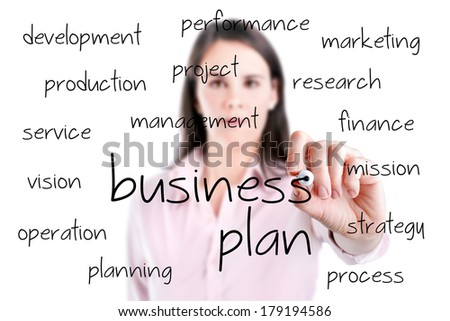 Young business woman writing business plan concept.