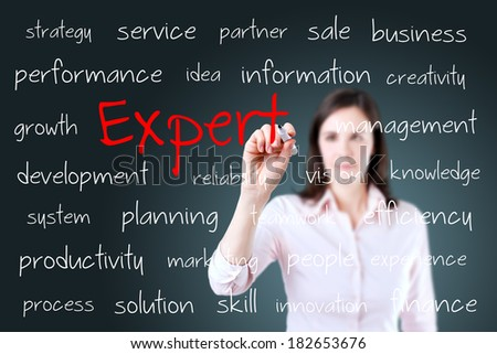 Young business woman writing expert concept.  - stock photo