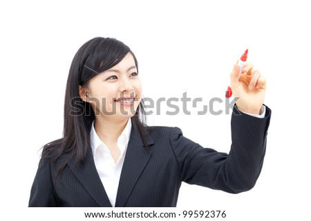 young business woman writing, isolated on white background - stock photo