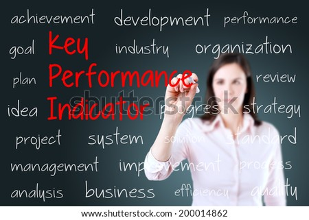 Young business woman writing key performance indicator (kpi) concept. Blue background. - stock photo