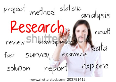 Young business woman writing research concept. Isolated on white background. - stock photo