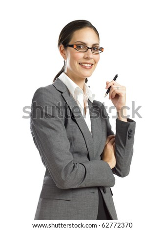 young business womansmiling and  holding pen - stock photo