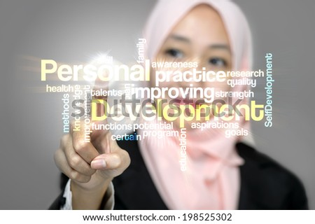 "Young Business Women press virtual interface word cloud ""Personal Development"""
