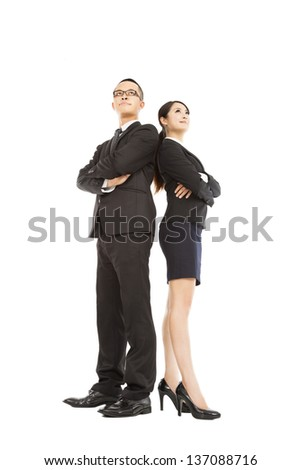 young businessman and businesswoman standing together - stock photo
