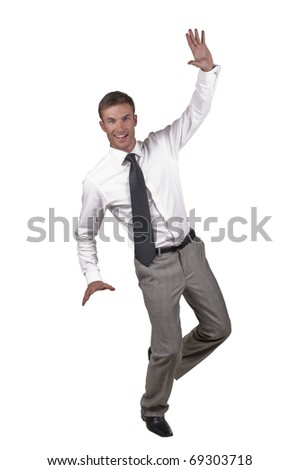 young businessman cheerful, emotional, isolated on a white background