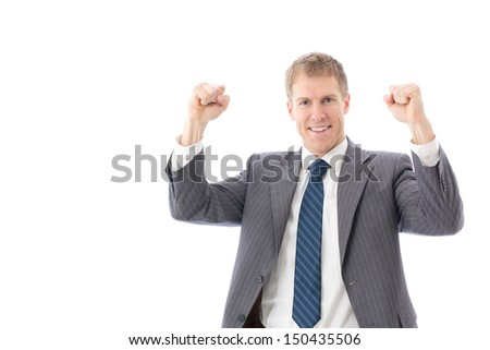 young businessman cheering on white background - stock photo