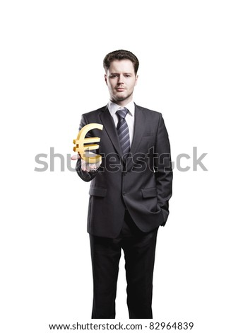 Young  businessman chooses a Gold Euro Sign.Isolated on a white background - stock photo