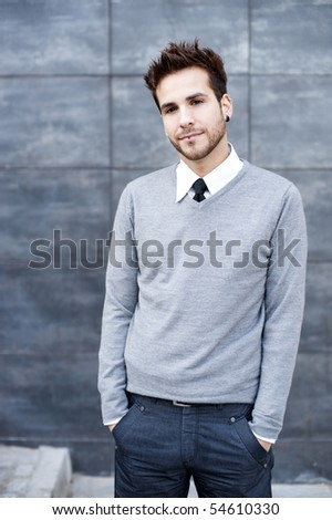 Young businessman close portrait - stock photo