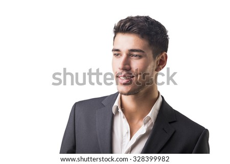 Young businessman confidently posing in front of camera, wearing suit isolated in white background - stock photo