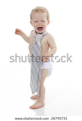 Young Businessman Crying - stock photo