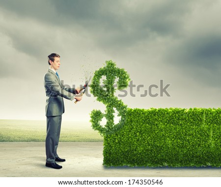 Young businessman cutting bush in shape of dollar - stock photo