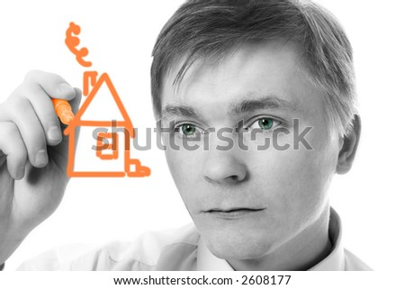 young businessman design marker house on white background - stock photo