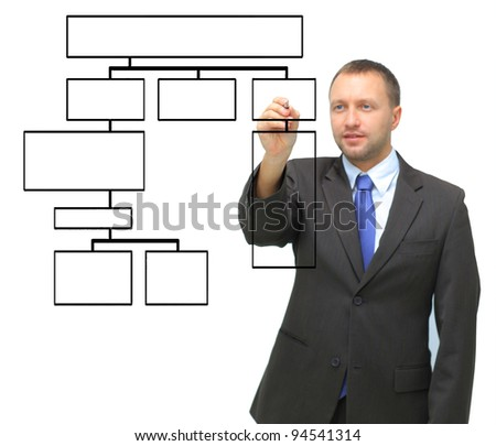 young businessman drawing a flowchart, isolated on white