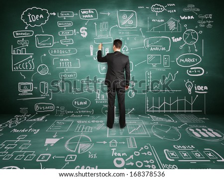 young businessman  drawing business concept on wall - stock photo