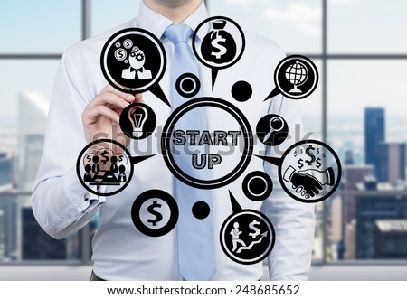 young businessman drawing business start up - stock photo