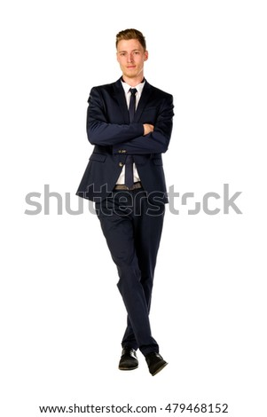 Young businessman full length portrait isolated