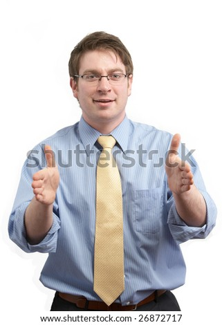 Young businessman gesturing an idea with hands - stock photo