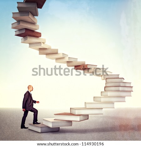 young businessman go up on 3d books stair - stock photo