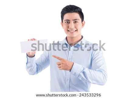 Young businessman holding a blank card. Concept - a demonstration of achievements in business, graphic ads. Isolated on white. - stock photo