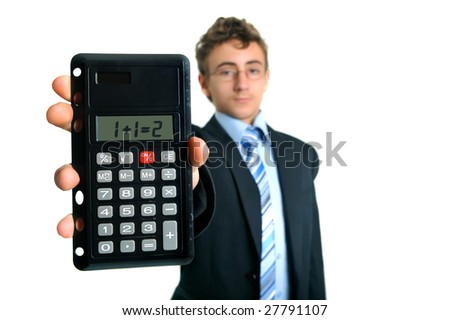 Young businessman holding calculator with elementary problem