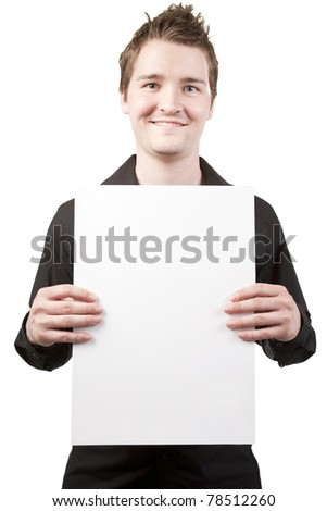 Young businessman holding sign vertical on white background - stock photo