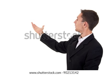 young businessman holds a business presentation - stock photo